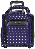 "Kenneth Cole Reaction Dot Matrix 14"" 600D Polka Dot Polyester 2-Wheel Underseater Carry-On, Navy"