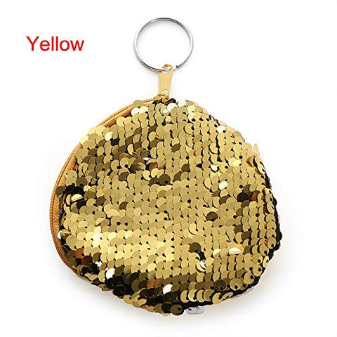 Girls Double Color Mermaid Sequins Bag Coin Wallet Ladies Purse Pouch Keychain (Color - Yellow)
