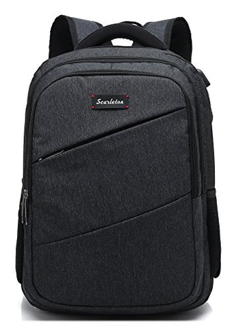 Scarleton Simple Polyester Backpack H203601 - Black