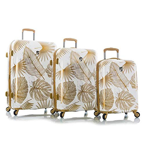 Heys Oasis White/Gold Leaf Fashion Spinner 3pc Set