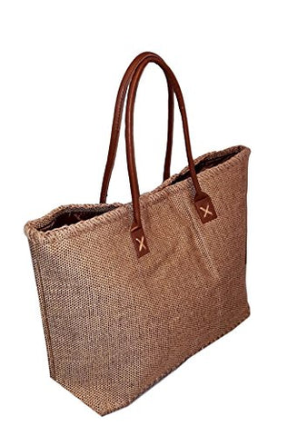 101 BEACH Large Jute Tote Bag - Custom Embroidery Available (Brown)