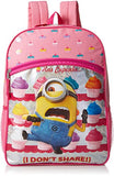 Despicable Me Girls' Universal Cupcake Front Zipper Pocket 16 inch Backpack, Pink