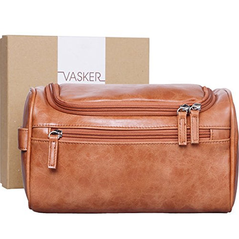 [Gift Box] Vasker Travel Hanging Toiletry Bag For Men Waterproof (Brown)
