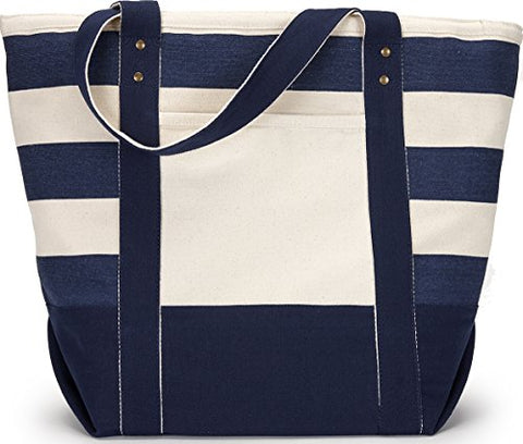 Zuzify Nautical Zippered Canvas Tote Bag. Dy1090 Os Navy / Blue Stripe