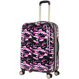 "Aimee Kestenberg Women's Sergeant 24"" Camo Printed Hardside Expandable 8-Wheel Spinner Checked Luggage, Pink"