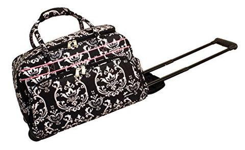 Jenni Chan Damask Deluxe Carry-All Rolling Duffel, Black/Pink, One Size