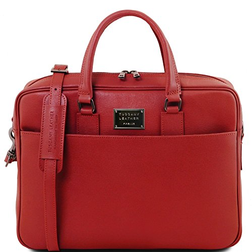 Tuscany Leather Urbino - Saffiano leather laptop briefcase with front pocket - TL141627 (Red)