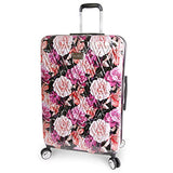 "Bebe Women'S Luggage Marie 29"" Hardside Check In Spinner, Black Floral Print"