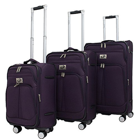 Chariot Prague 3-Piece Luggage Set Purple