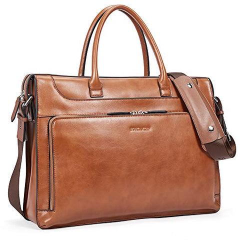 BOSTANTEN Leather Briefcase Vintage Business Message Bags 15.6 inch Laptop Shoulder Handbag for