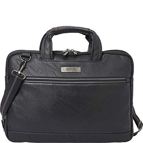 "Kenneth Cole Reaction Faux Leather 16"" Laptop Briefcase Black One Size"