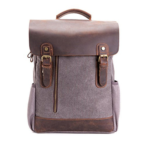 Vintage Leather Canvas Backpack, Retro Canvas Campus School Rucksack Fits 15.6 inch Laptop