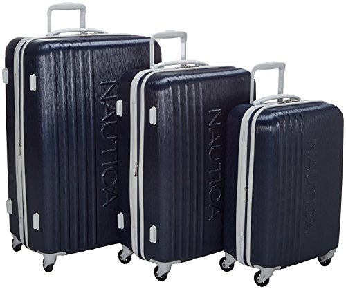Nautica Lifeboat 3 Piece Hardside Expandable Suitcase Set, Classic Navy
