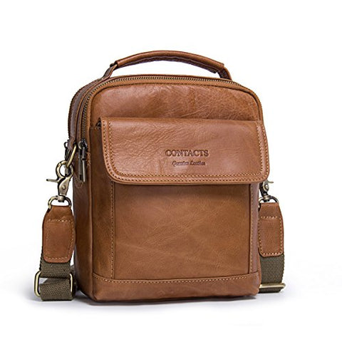 "Contacts Mens Genuine Leather Crossbody Single-Shoulder 9"" Mini iPad Messenger Tote Bag (Brown)"