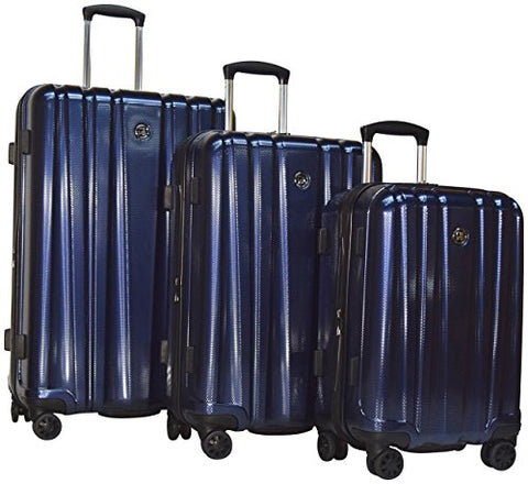 "Revo Impact Ii Hardside Luggage 3 Piece Set | 20"" 25"" 30"" Navy - Made In Usa (Navy)"