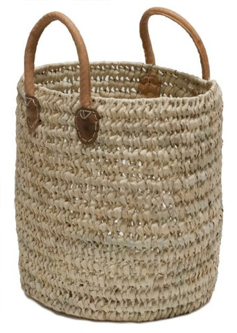 "Moroccan Straw Round Tote Bag w/ Leather Handles - 13""Lx15""H - Malaga"