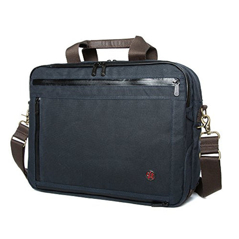 Token Bags Waxed Canvas Montrose Briefcase, Navy, One Size