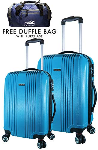 "ABS Lightweight Spinner Luggage - 2 Piece Set (20"", 24""), Blue"