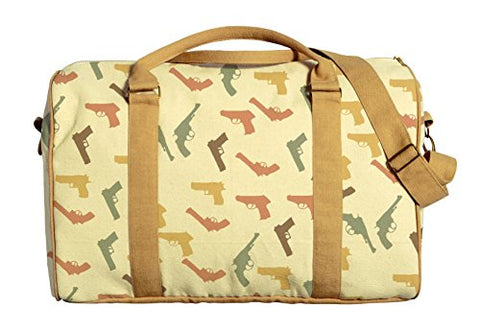 Guns Printed Canvas Duffle Luggage Travel Bag Was_42