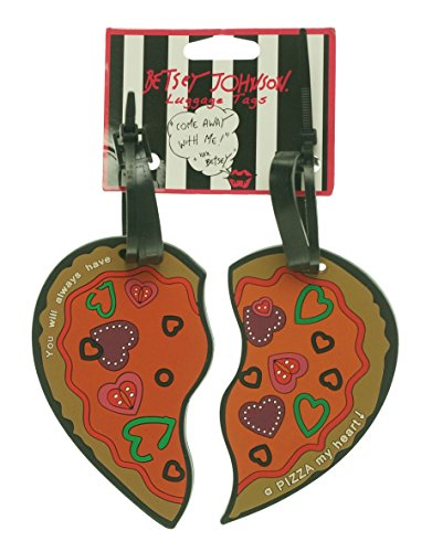 Betsey Johnson Heart‑Shaped Pizza Luggage Tag Set - You Will Always Have a Pizza My Heart!