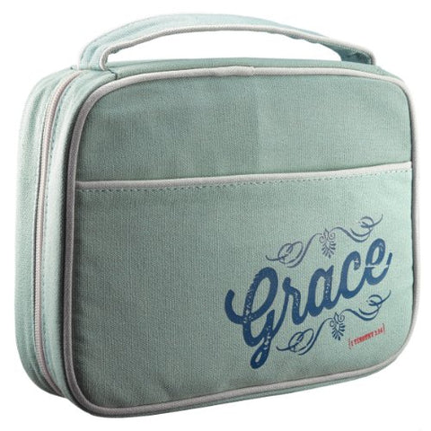 "Retro Blessings ""Grace"" Washed Cadet Blue Canvas Bible / Book Cover (Large)"