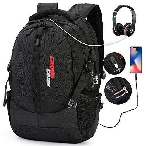 Cross Gear with USB Charging Port Laptop Backpack Anti-Theft Business School Travel Bag fit 15.6