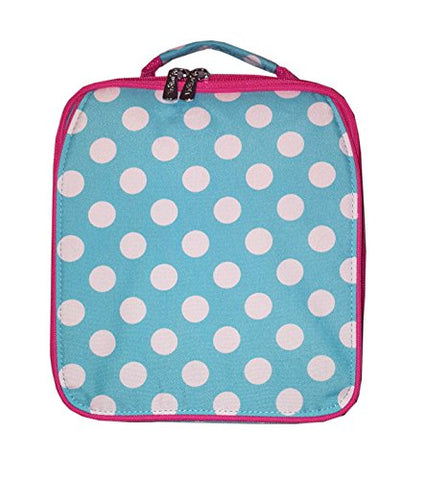 Personalized Aqua Polka Dot Back To School Lunch Tote