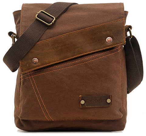 Small Vintage Canvas Messenger Bag Ipad Shoulder Bag Travel Portfolio Bag Crossbody Purse