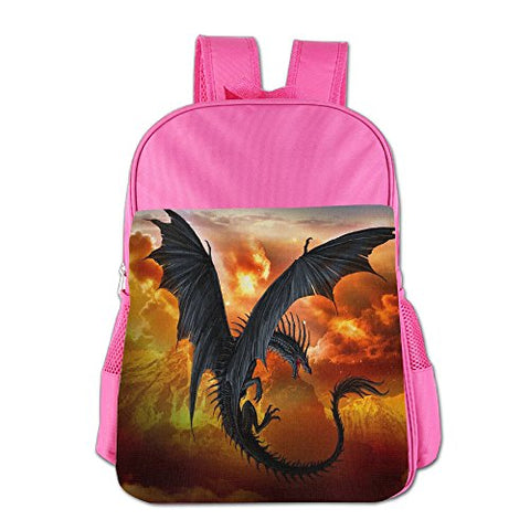 Gibberkids Kid Fantasy Dragon Fire Cool School Backpack Bookbag Boys/Girls For 4-15 Years Old Pink