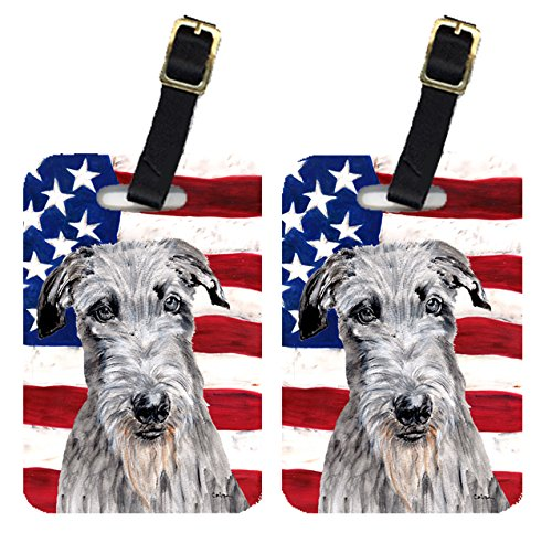 Caroline's Treasures SC9634BT Pair of Scottish Deerhound with American Flag USA Luggage Tags , Large, multicolor