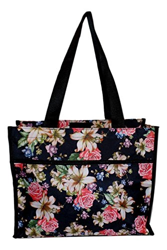 Medium Fashion Print Zipper Top Tote Bag (Lily Rose)