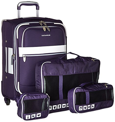 Us Traveler Alamosa 4-Piece Carry-On Luggage Set, Purple