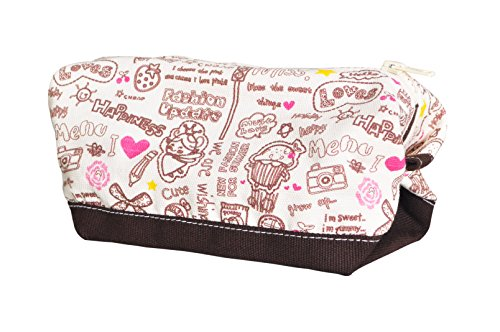 Vietsbay'S Women Happinessprint Canvas Toiletry Bag Makeup Cosmetic Pouch