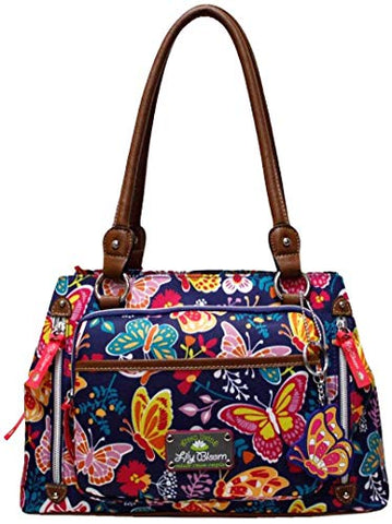 Lily Bloom Maggie Satchel Handbag One Size Navy blue multi