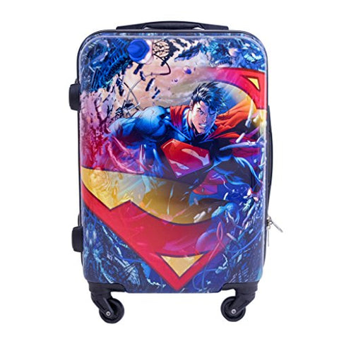 DC Comics Luggage Superman 21 Inch Spinner Rolling Upright Hardsided Luggage, Multi-Colored