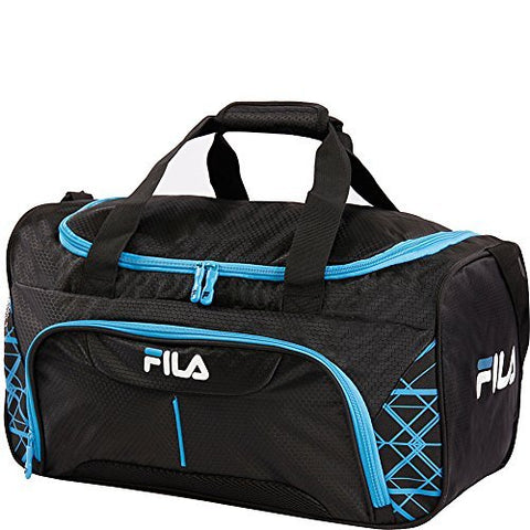 Fila Fastpace Small Sports Duffel Bag Gym, Black/Blue, One Size