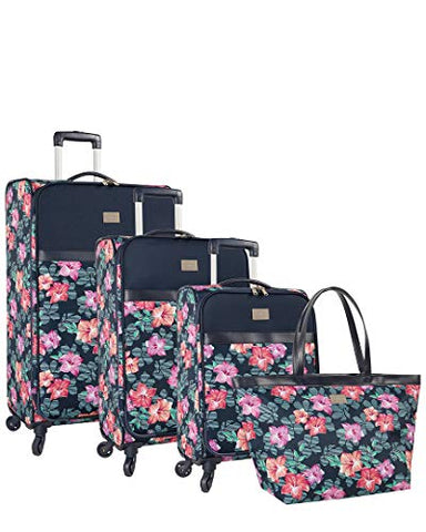 Tommy Bahama Michelada 3 Piece Hardside Spinner Luggage Set (Hibiscus Vine)