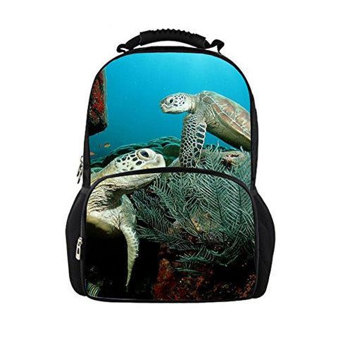 Youngerbaby Elastic Felt 3D Sea Turtle Print 14 Inch Laptop Backpack For Boys,Casual Students
