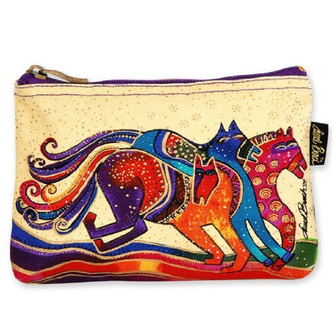 Laurel Burch Mythical Horses Cosmetic Purse (Multicolored Horse In Baige Background D)