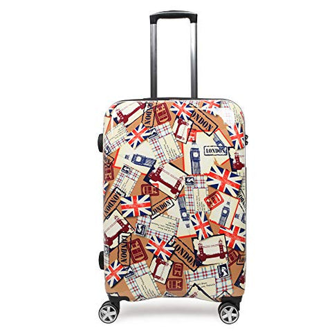 NEWCOM Luggage 20 Inch Hard Shell Spinner Wheels Printed National Flag Graffiti ABS +PC Build-In TSA Lock Lightweight Traveling Carry On for Hip Pop Punk Youth
