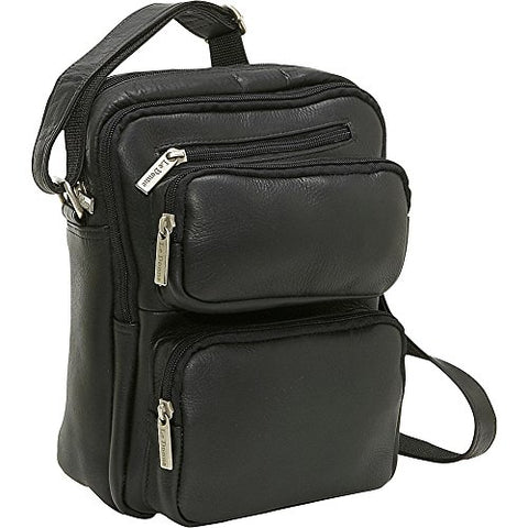 Le Donne Leather Multi Pocket Mens Bag - Black