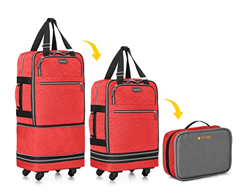 Biaggi Zipsak Boost Carry-On Suitcase - Compact Luggage Expands 22-Inches to 28-Inches - As Seen on Shark Tank - Red