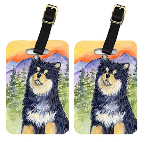 Caroline's Treasures SS1057BT Pair of 2 Finnish Lapphund Luggage Tags, Large, multicolor