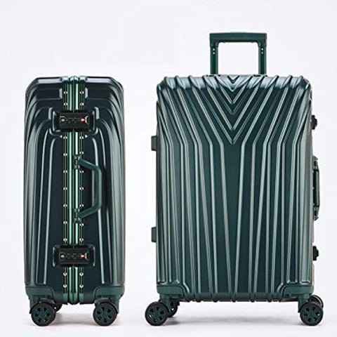 New Aluminum Frame Rolling Luggage Women Travel Bag Trolley Suitcase Carry On Luggage,Green,26