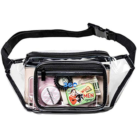 360 DESIGN BOX Clear Fanny Pack, Adjustable Transparent Clear Waist Bag, NFL Stadium Approved Clear