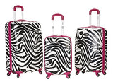 Rockland Luggage 3 Piece Upright Set, Pink Zebra, Medium