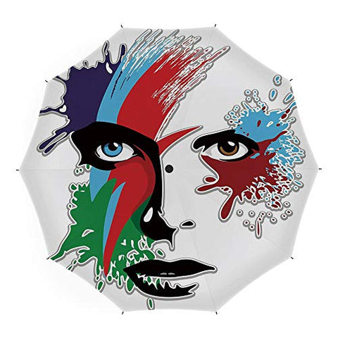 Folding Umbrella,David Bowie Decor,for Women Men Vinyl Anti-UV Lightweight 45 Inch,Bowies Eyes