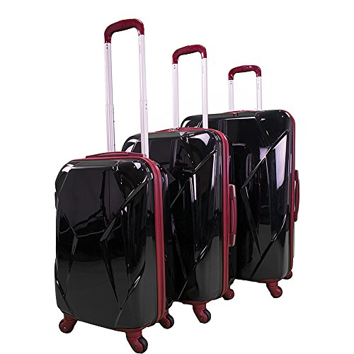 Chariot Antonio 3 Piece Hardside Spinner Luggage Set (Black)