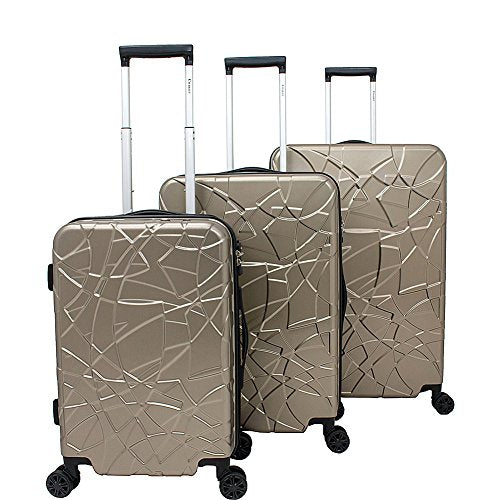 Chariot Crystal 3 Pc Hardside Spinner Set (Champagne)