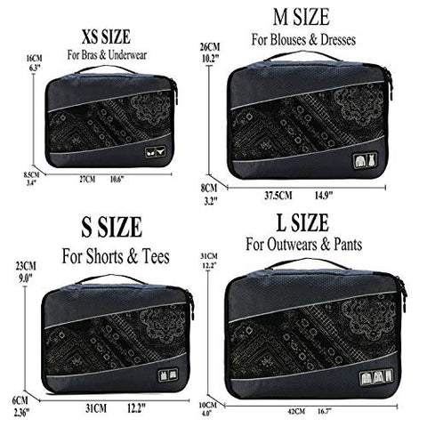 Packing Cubes Packing organizers Travel Duffle Bag Men Women Travel Luggage Organizer Cube Set,Gray XS-S-M-L